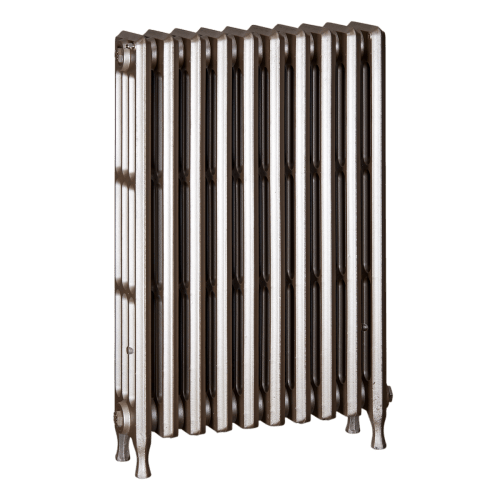 Ironworks Radiators Inc. refurbished cast iron radiator Runnymede in Nickel metallic