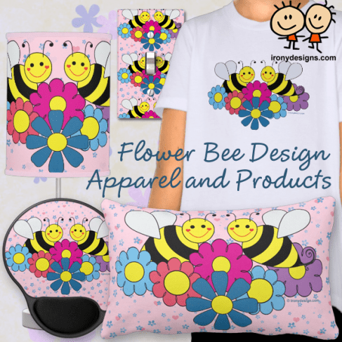Bees & Flowers Design Illustration Merchandise.  2 cute bumble bees with flowers. Surrounding these two big bumble bees are flowers in pink, purple, blue and yellow. Fully customizable and you can even personalize them. This colorful bee design is great for summer and bee lovers.
