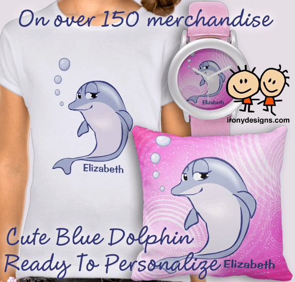 "A cute blue dolphin illustration with a pink background with swirls and stars that you can personalize just by replacing the name ""Elizabeth"" to any name you want. Some products have the blue dolphin in a pattern."
