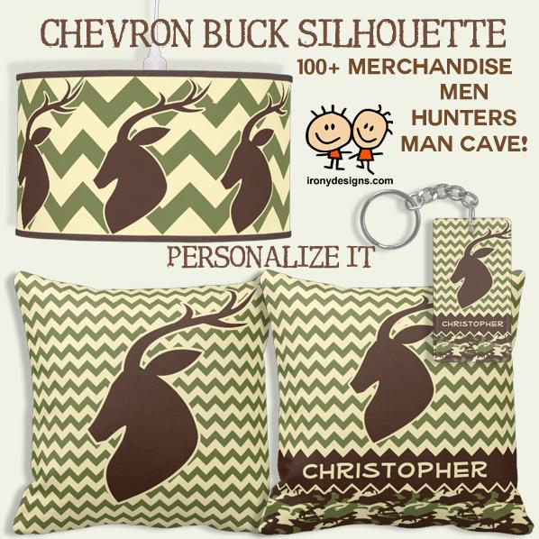 Chevron Pattern Buck Silhouette Personalize Gifts
