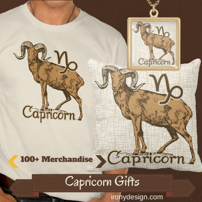 Zodiac Sign Capricorn Symbol Products and Apparel Gifts. Capricorn The Goat known as The Ambassador. December 22 to January 20 . Astrology Design for the Capricorn's colors were chosen based on it's color being Brown and most dark colors, Element is Earth. You can personalize and customize them.