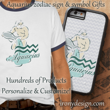 Zodiac Sign Aquarius Symbol Apparel and Products. Aquarius The Water Carrier. January 20 to February 18.