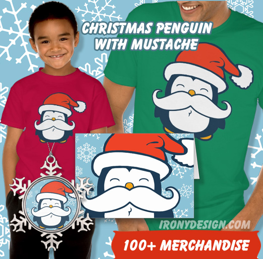 Christmas Penguin With Mustache Trend Apparel and Gifts!  A Cute Blue Penguin With a Santa Claus Hat and a trendy White Mustache for the Christmas Holiday Season! Most products with a blue background with white snowflakes. All can be customized and personalized.