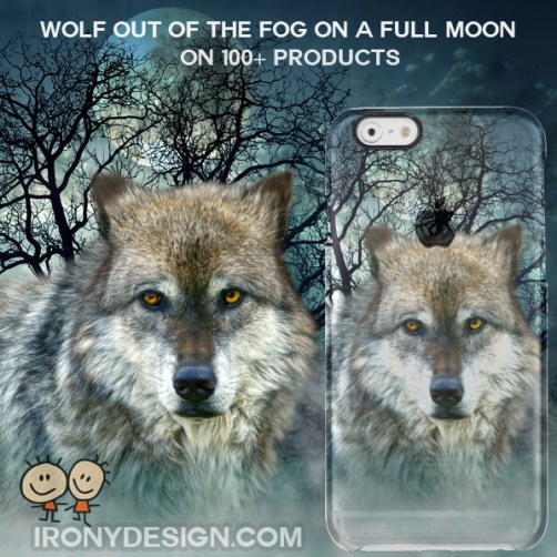 Wolf Full Moon Gifts. Beautiful Wolf on a Foggy Night with a Full Moon Picture Art. With blue shades and trees in the back. Wolf art with vivid blue colors photo image. You can customize it and personalize it!