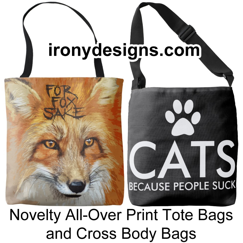 Novelty All-Over Print Tote Bags