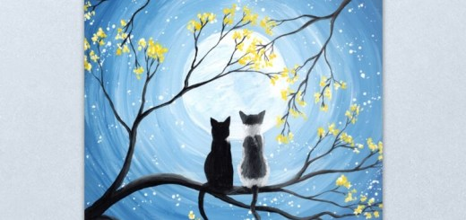Full Moon with Cats Whimsical Art Painting Prints and Products