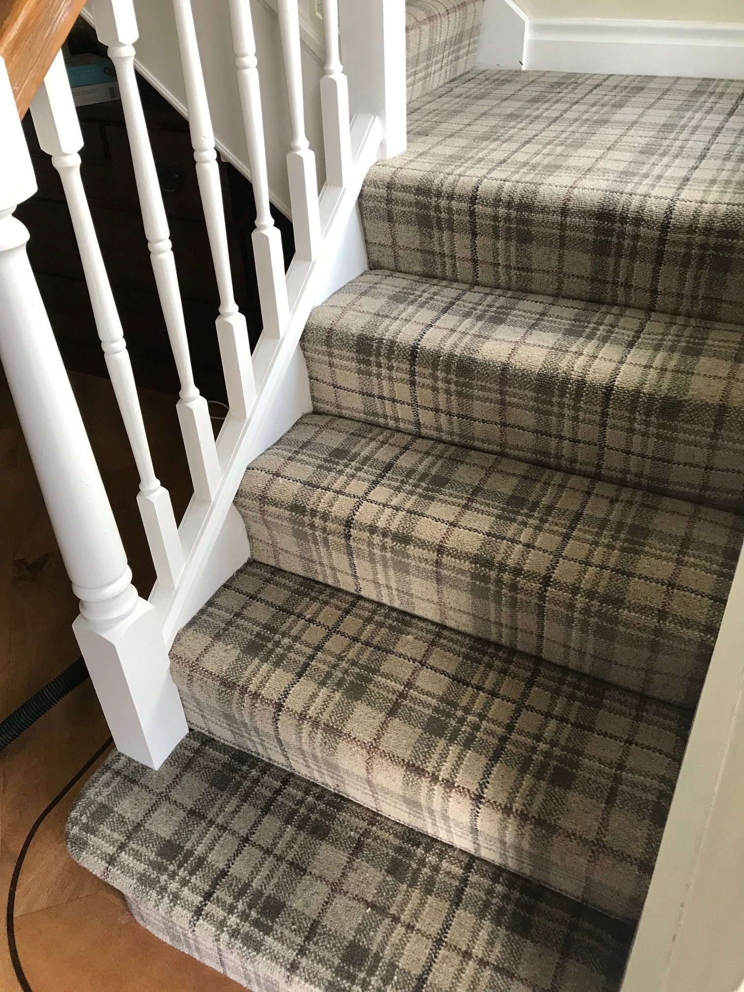 Grey Tartan Carpet Fitted To Stairs And Landing | Grey Carpet Stairs And Landing | Teal | Open Plan | Pinterest | Commercial | Wall