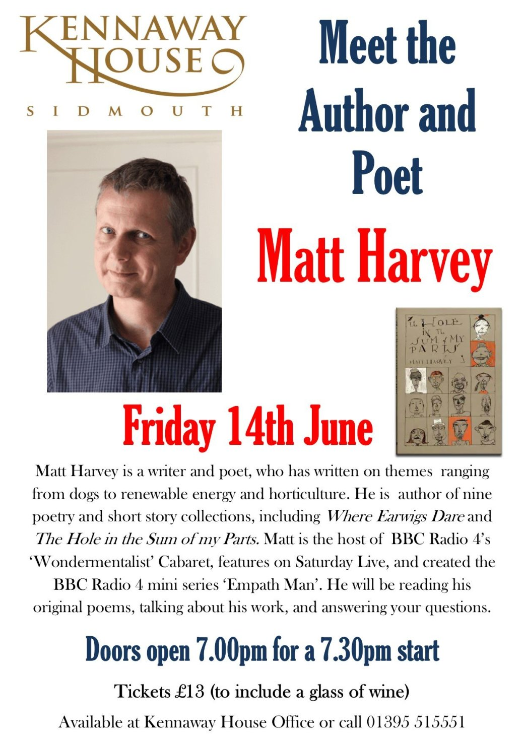 Meet the Author and Poet Matt Harvey BBC Radio 4 Kennaway House Sidmouth