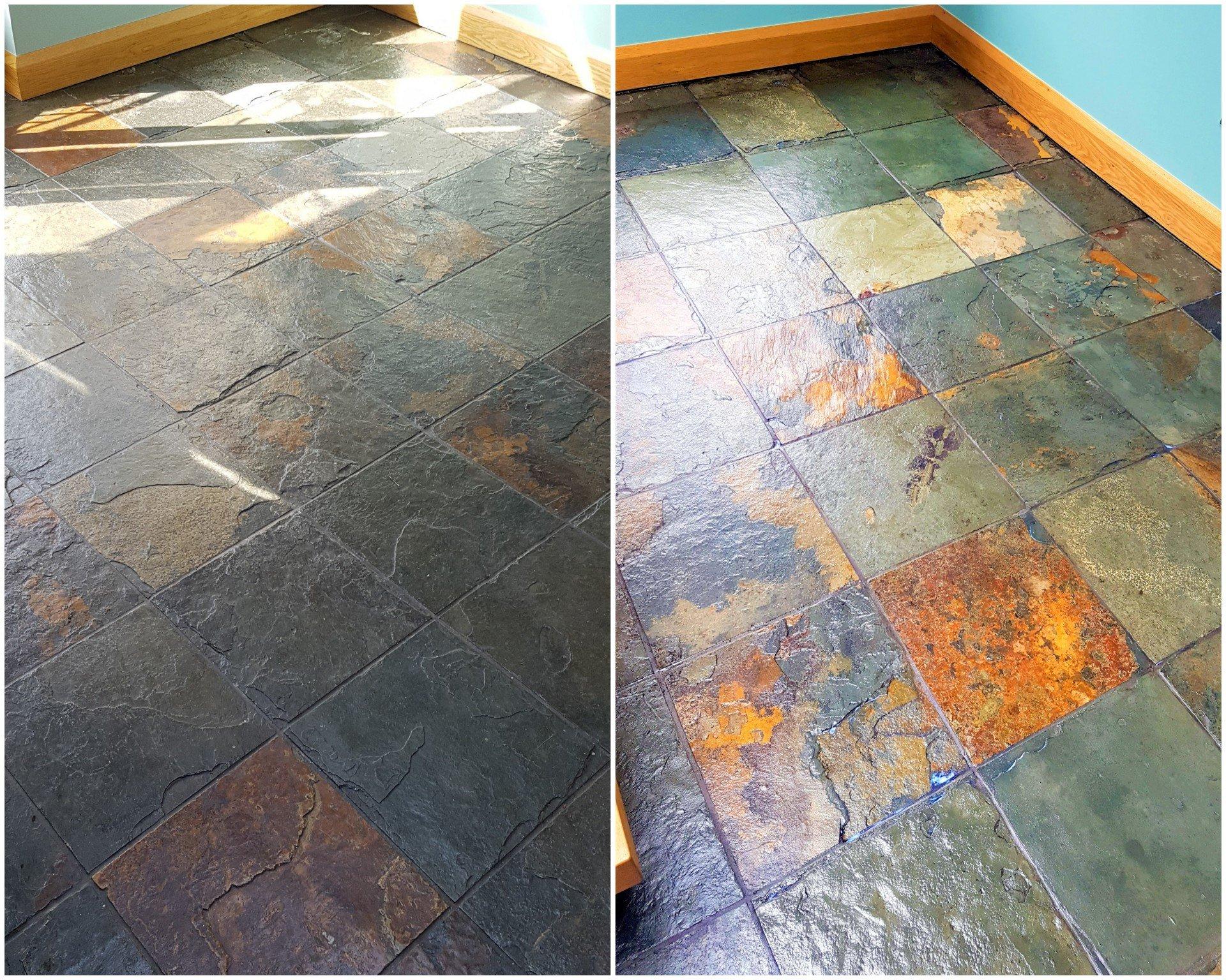riven slate stone floor wax stripping