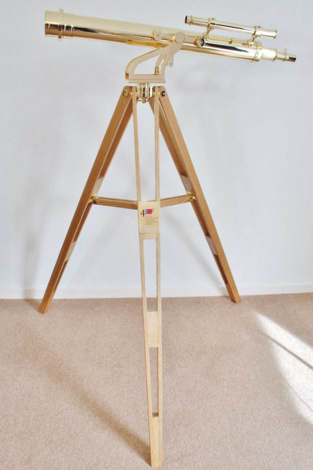 The Japan400 Presentation Telescope on its polished brass altazimuth mount and oak tripod