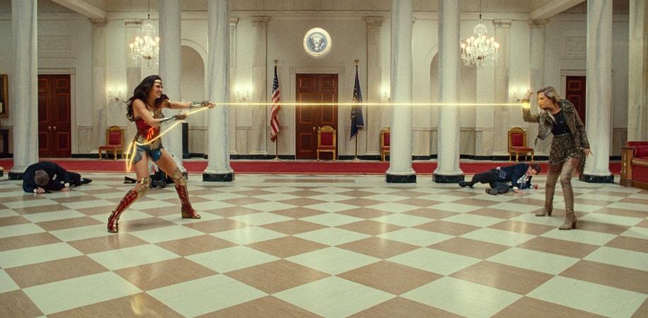 "GAL GADOT as Wonder Woman and KRISTEN WIIG as Barbara Minerva in Warner Bros. Pictures' action adventure ""WONDER WOMAN 1984"""