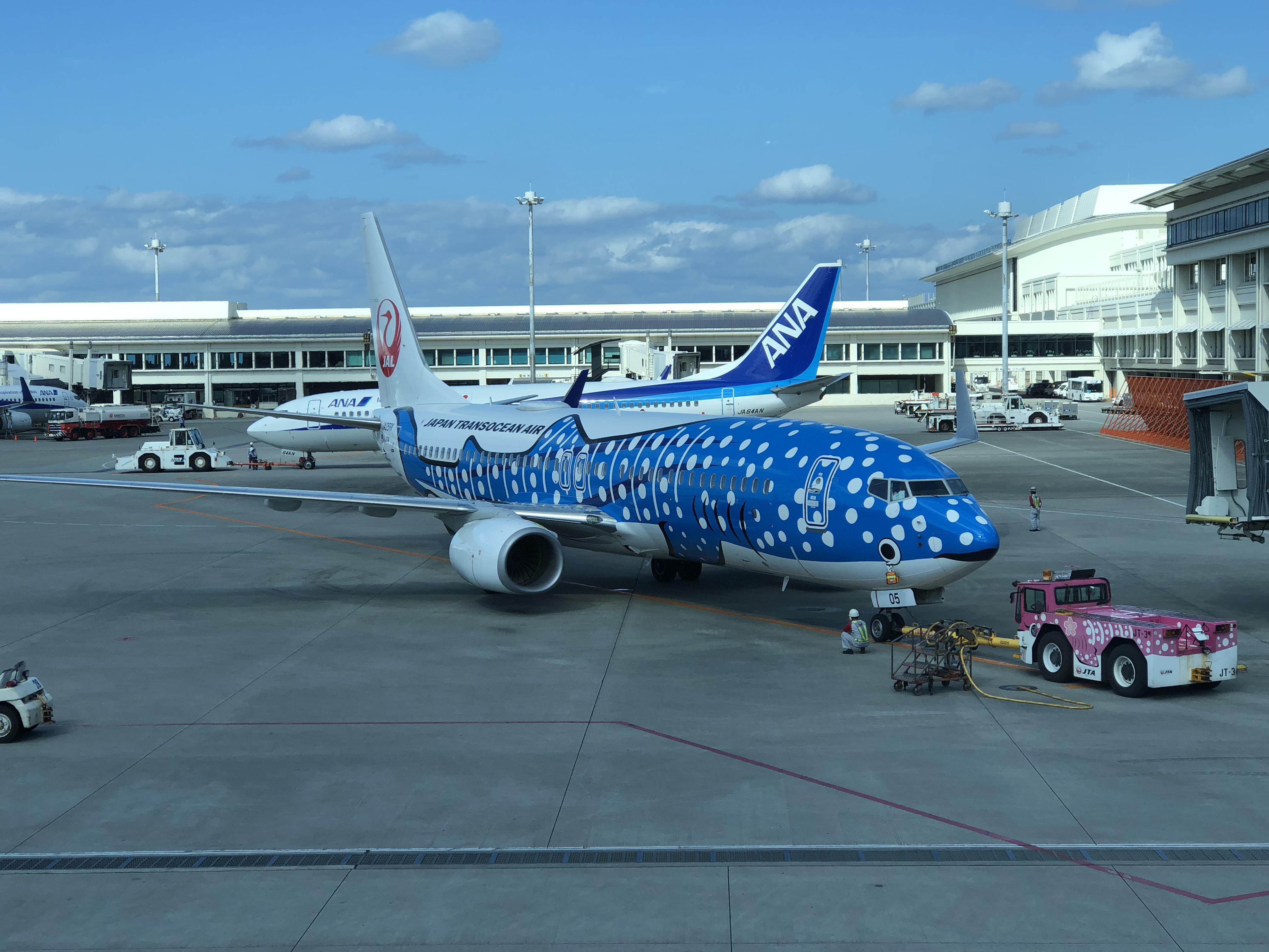 那覇空港から見たジンベイザメの飛行機
