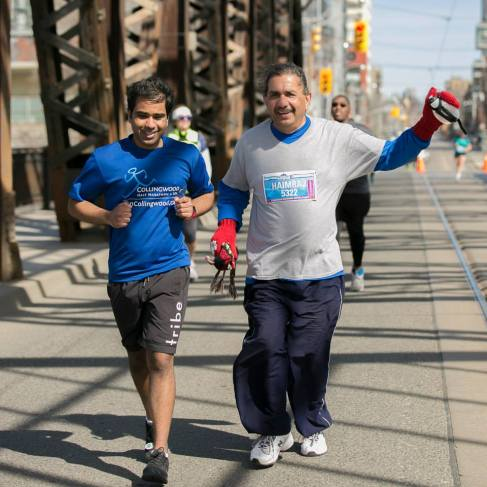 With dad at the 2015 Toronto Yonge Street 10K. Image via Canada Running Series.