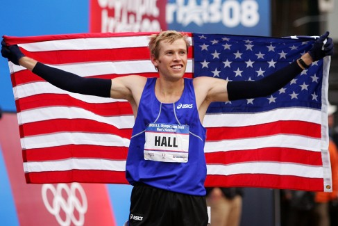 NEW YORK - NOVEMBER 03: Ryan Hall celebrates after winning the U.S. Olympic Team Trials - Men's Marathon held in Central Park, November 3, 2007 in New York City. (Photo by Chris McGrath/Getty Images)