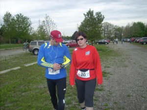 The Gazelle and I looking quite fashionable on our way to the start line.