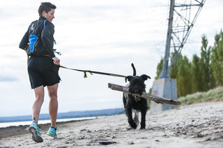 Kathryn Clewley seen retro running with her dog Vanilla in Hamilton, Canada on October 18th, 2015