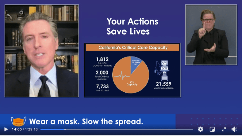 California Governor Gavin Newsom Announces Regional Stay-at-Home Order Based on ICU Capacity