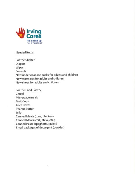 List of items needed Hurricane Evacuees on 082917