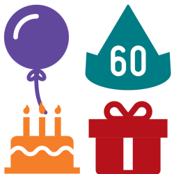 60th Birthday Balloon, Party Hat, Cake and Gift