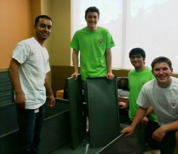Celanese volunteers building shelves2