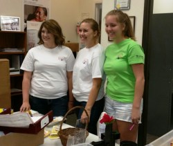 Celanese volunteers organizing supplies