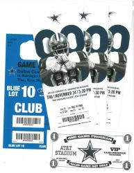 3 tickets to Cowboys vs Redskins Thanksgiving Day 2016
