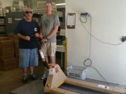Volunteers Don and Kenny with the new pallet jack