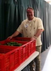 Kyle with vegetable bins