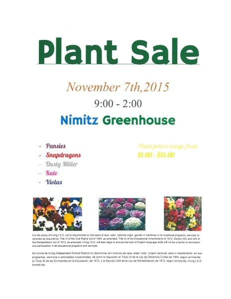 Nimitz Plant Sale Flyer