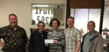 Randy Crick, Matthew Moffatt, & John McKell of Celanese present the check to Kyle Taylor & Heather Newell