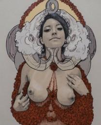 ADRIANA, Carboncillo y pintura acrílica sobre tela, 120cm x 100cm, 2014