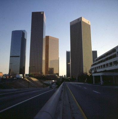 los-angeles-downtown leer -zum sonnenaufgang