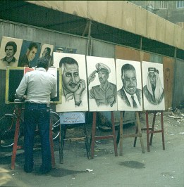 Neukairo Strassenmaler Nasser,Sadat
