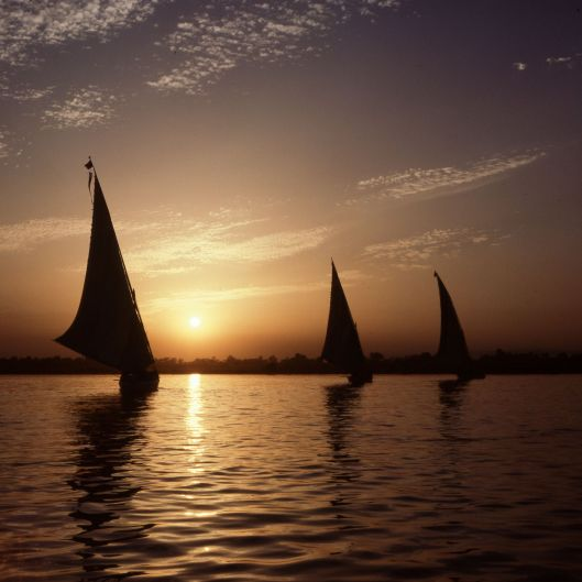 Ägypten Nil Segelboote Sonnenuntergang