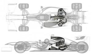 昨年、ルノースポーツF1が公開した2014年F1エンジン(パワーユニット)のマウント位置