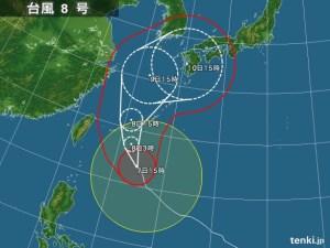 台風8号予想進路