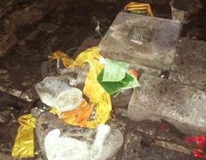 アンコール・トム バイヨン寺院で壊された仏像