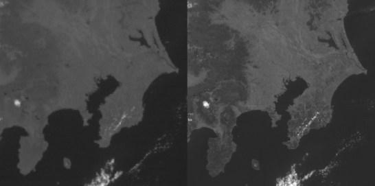 ひまわり8号・関東地方の可視画像比較