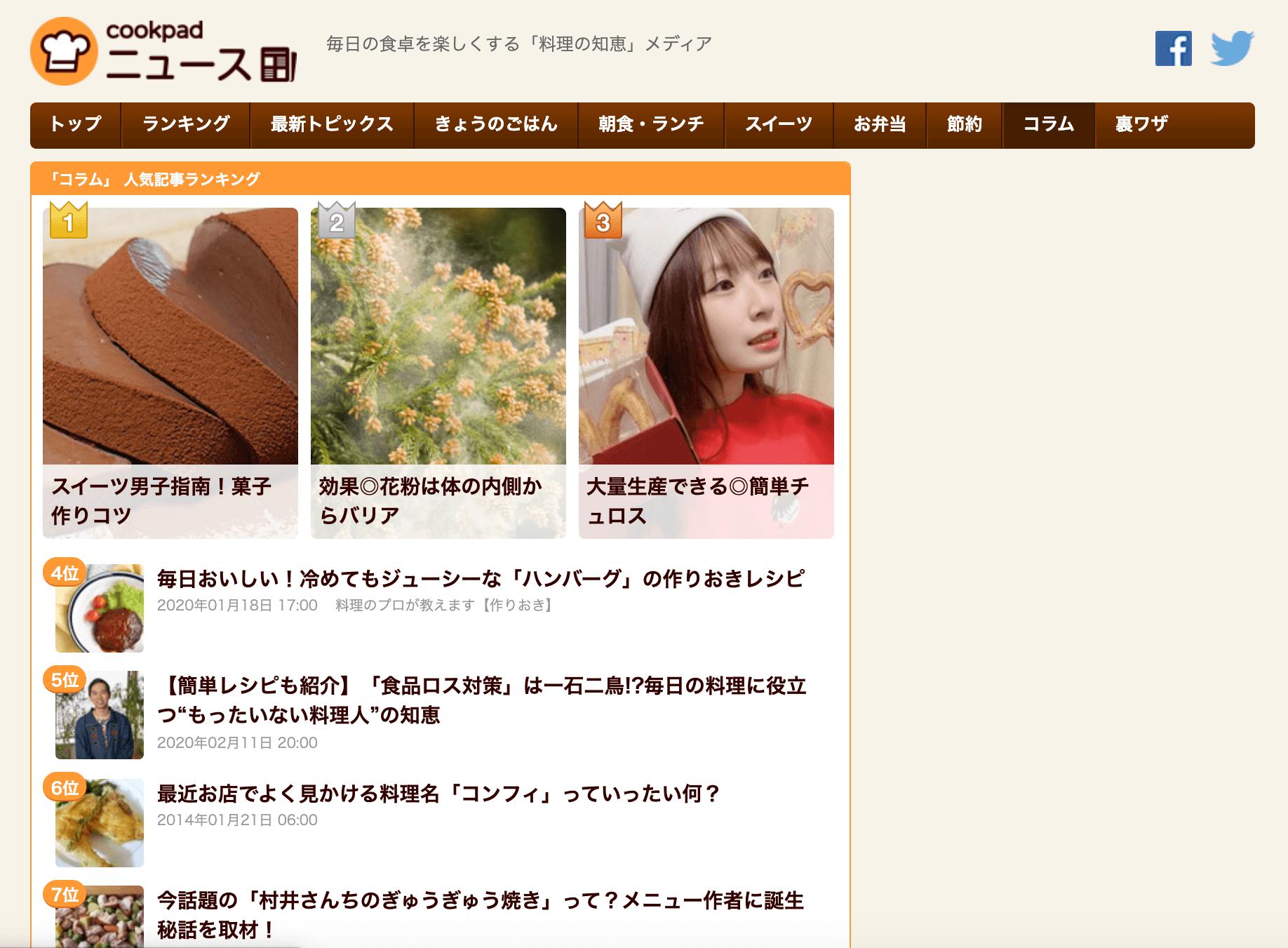 クックパッドニュース|2月|美腸ライフ|花粉症|ランキング画像