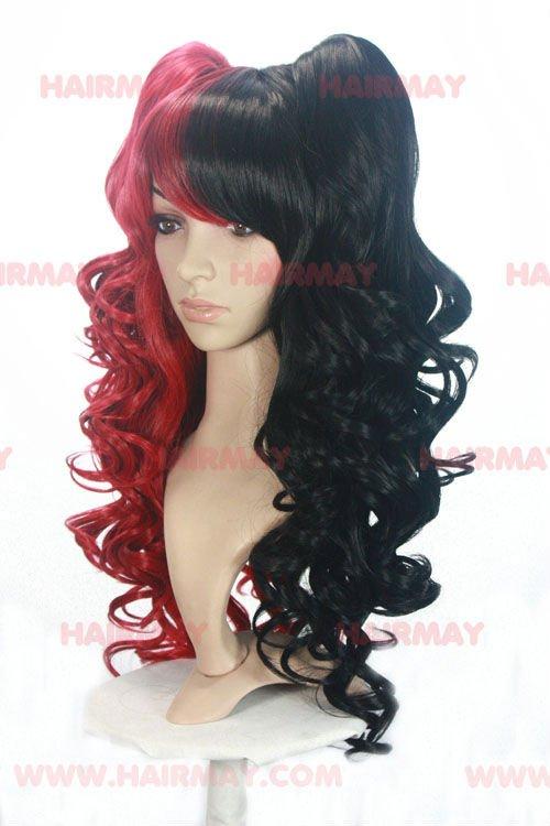 Two Tone Half And Half Color Wig Red And Black Buy Half