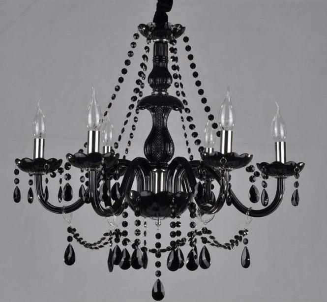 Black Glass Crystal Chandelier