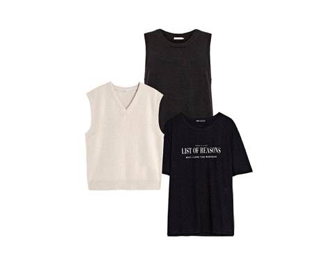The seawool material of Coster Copenhagen's dark cardigan is not electrified, 69 €.  The light Slipover made of wool and cashmere is a warm extra layer, 280 €, Filippa K. The t-shirt that fits the leotard style has elbow-sleeved sleeves, 7.95 €, Zara.
