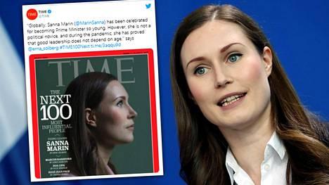 Sanna Marinia kehutaan Time-lehdessä.