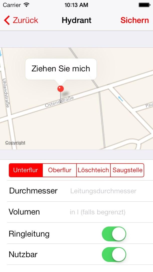 Katmin Feuerwehr Hydrantenplan Screenshot