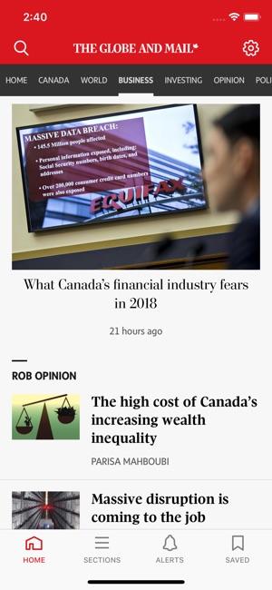 The Globe and Mail Screenshot