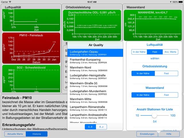Umweltdaten Screenshot