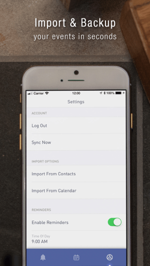 Birthday Calendar + Screenshot