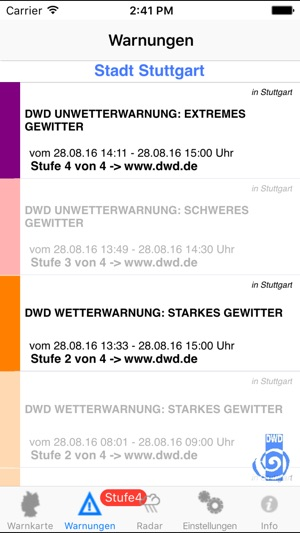 Wetter-Warner Screenshot