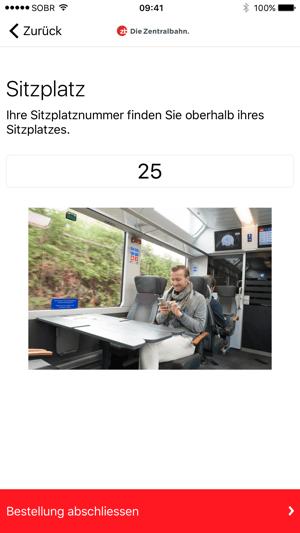 Zentralbahn Bistro Order Screenshot