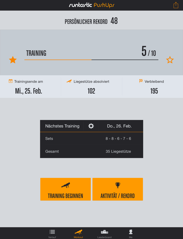 Runtastic Push-Ups PRO Trainer Screenshot